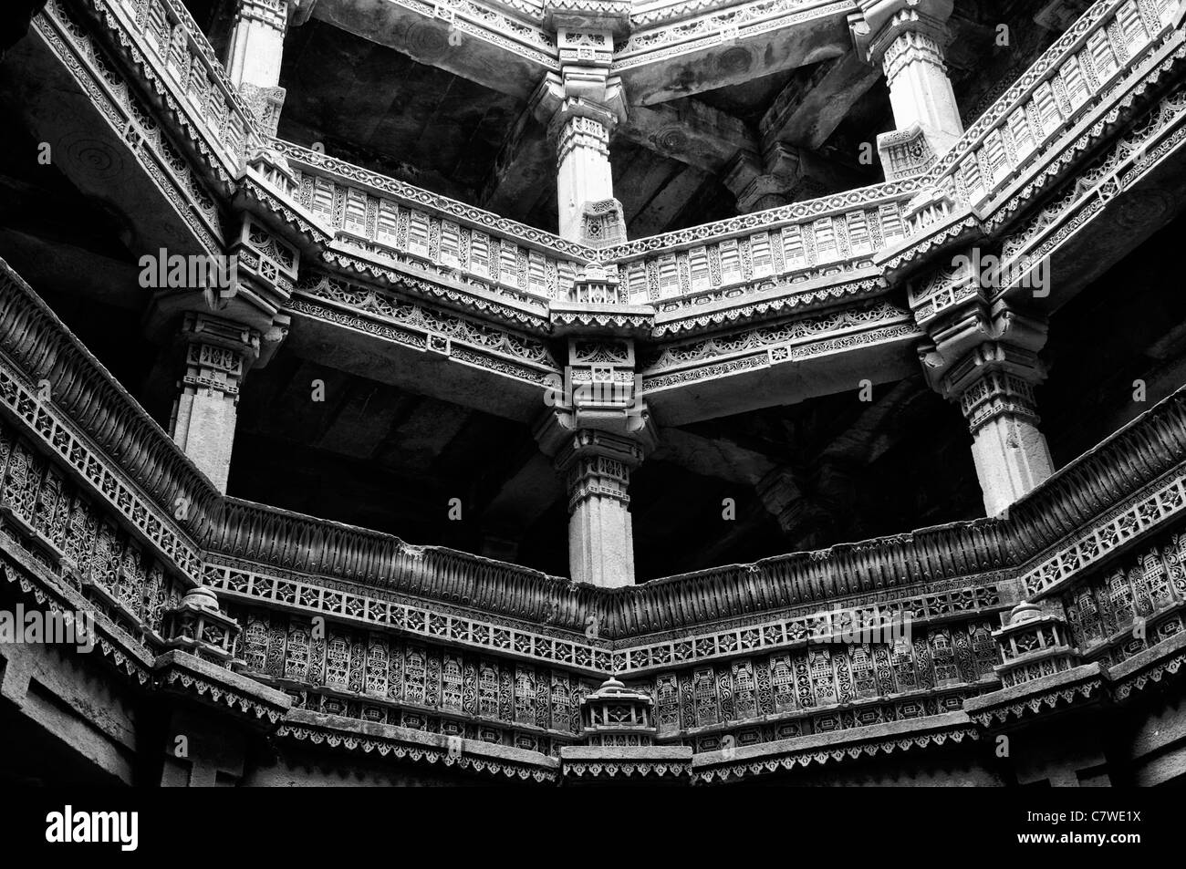 architectural detail exquisite exquisitely intricate intricately carved historic stone Adalaj Stepwell Ahmedabad - Stock Image