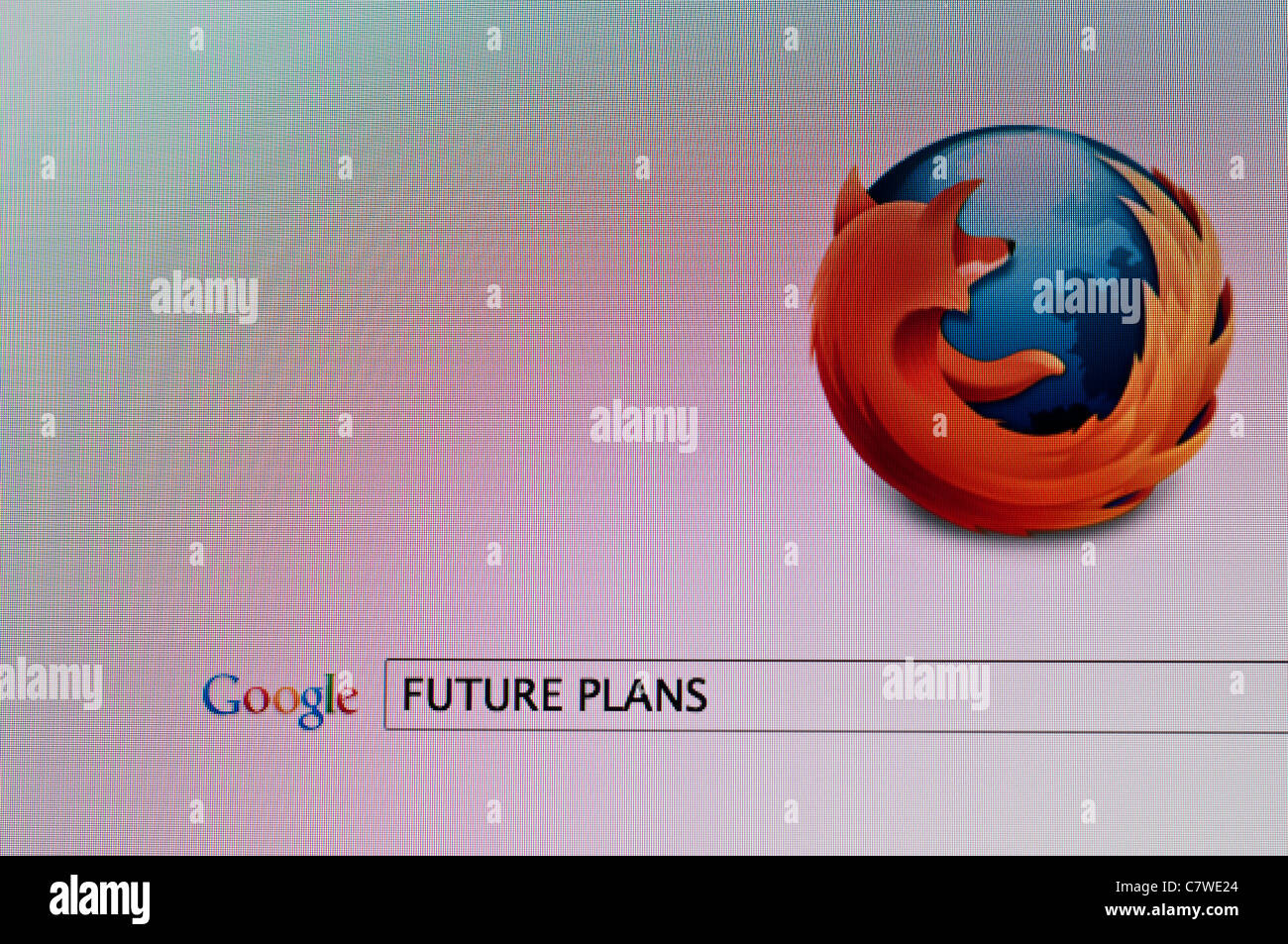 Computer screen with Google search on Firefox browser for 'Future plans' - Stock Image