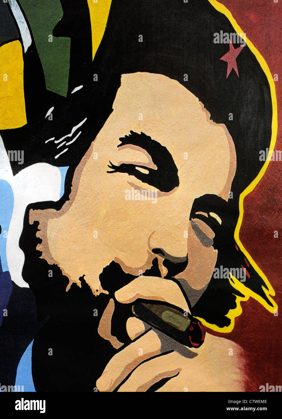 che guevara cartoon illustration from a moscow magazine russia communist communism hero cuba icon iconic cult - Stock Image