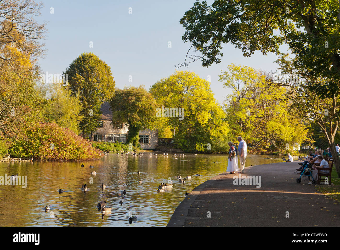 The River Wye, Bakewell, Peak District, Derbyshire, England UK - Stock Image