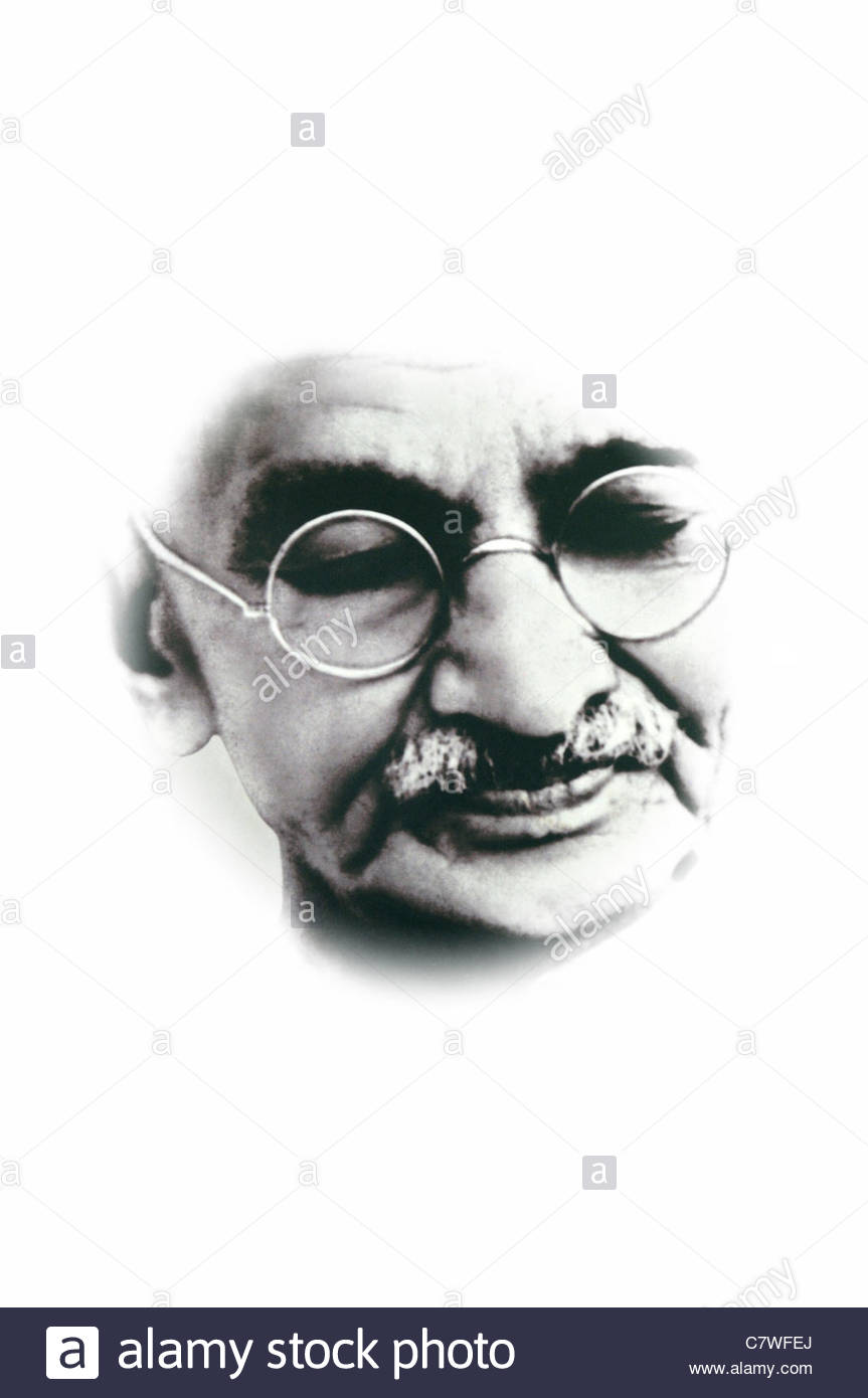 cut out cutout of a section of a photo of Mohandas Karamchand Gandhi mahatma gandhi taken from a poster icon iconic - Stock Image
