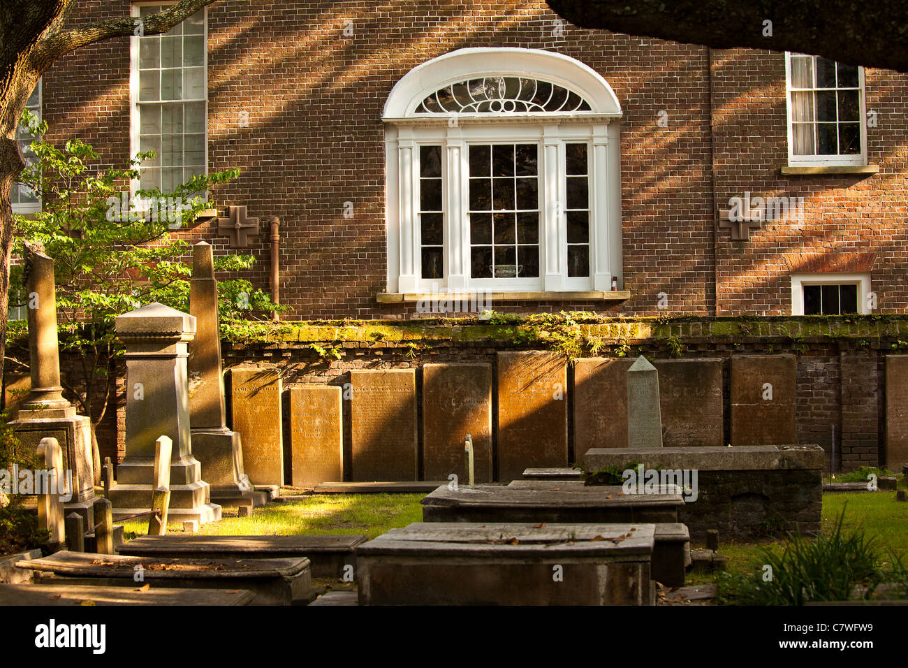 Evening at the First Scots Church cemetery Charleston, SC. - Stock Image