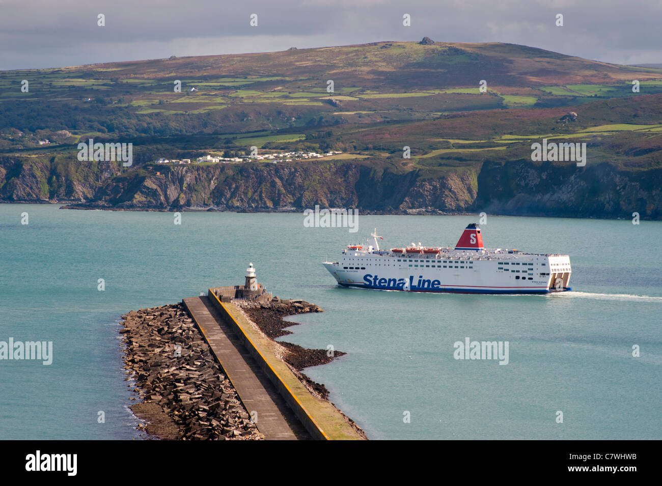 Stena ferry 'Stena Europe' leaves Fishguard harbour, Pembrokeshire, Wales - Stock Image