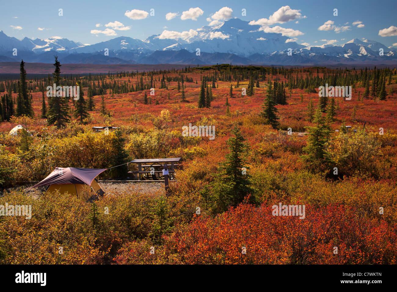 Tents at the Wonder Lake Campground, Denali National Park ...