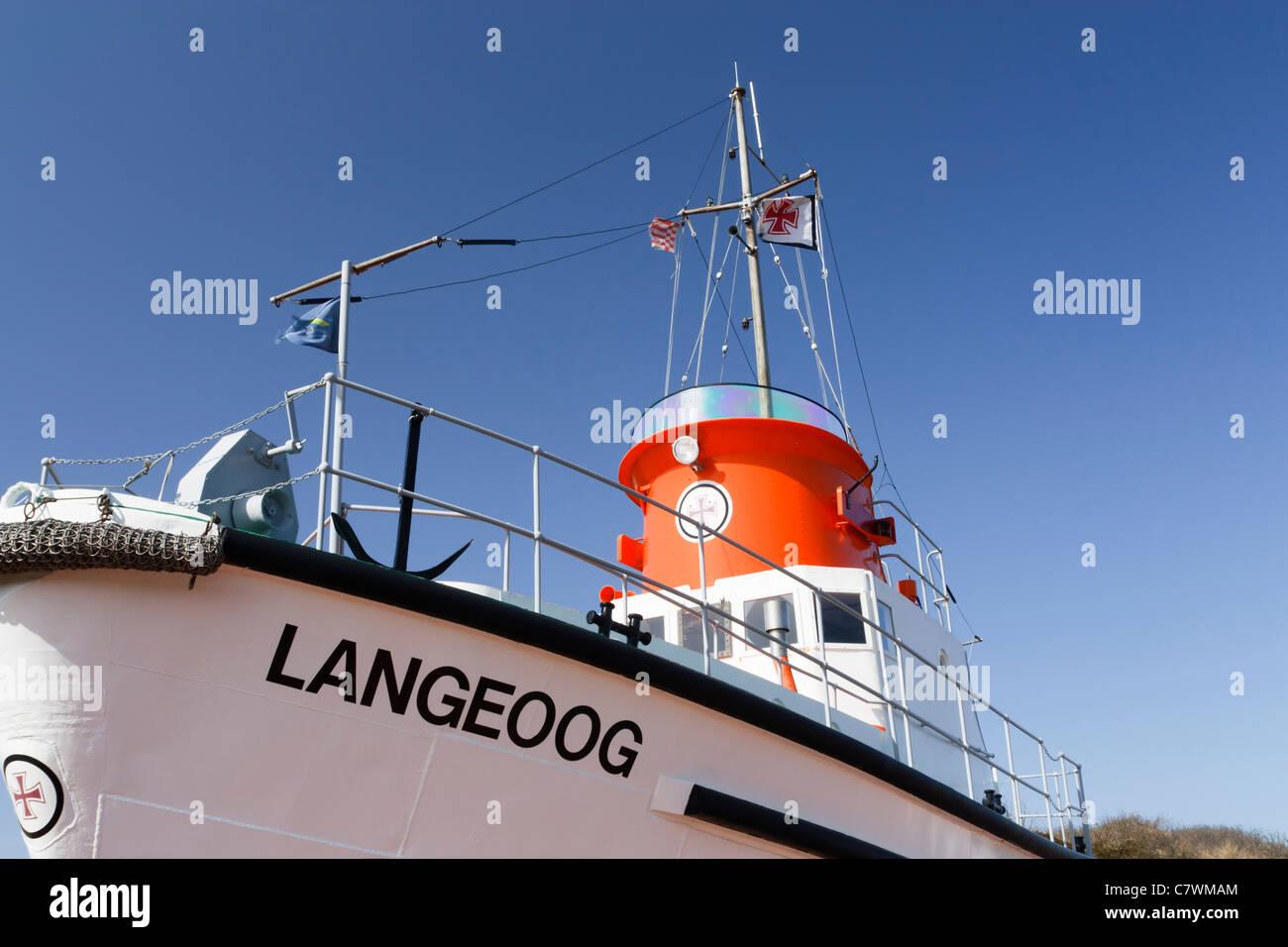 "Life boat ""Langeoog"" on the German East Frisian Island Langeoog. Stock Photo"