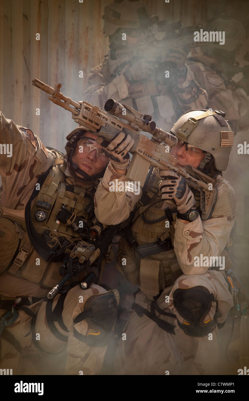 U.S. Air Force CSAR Parajumpers during a combat scene.