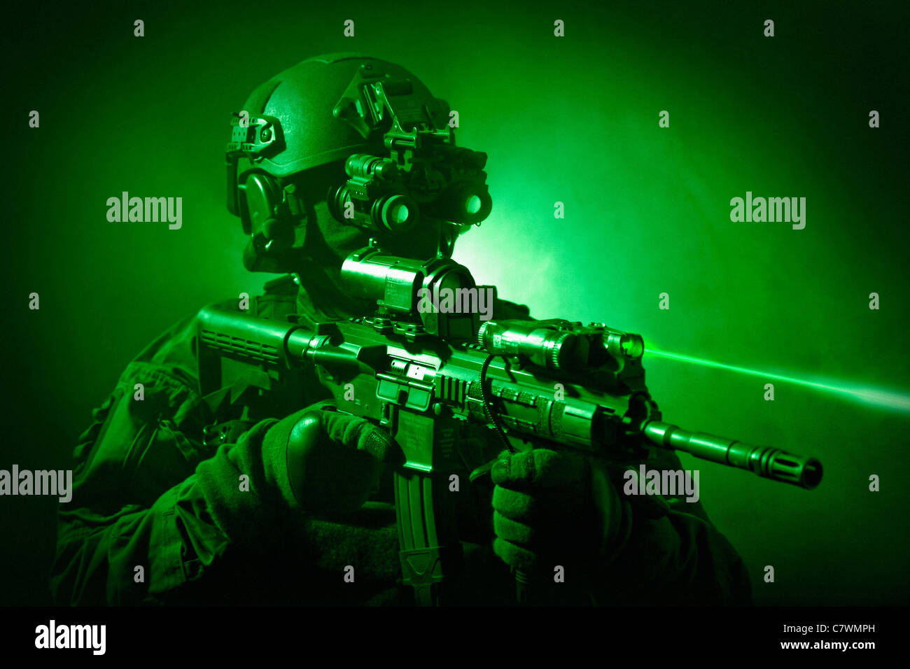 Special operations forces soldier equipped with night vision