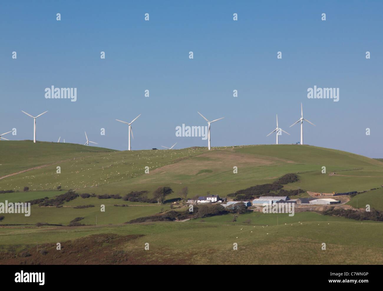 Mynydd Gorddu farm and windfarm - Stock Image