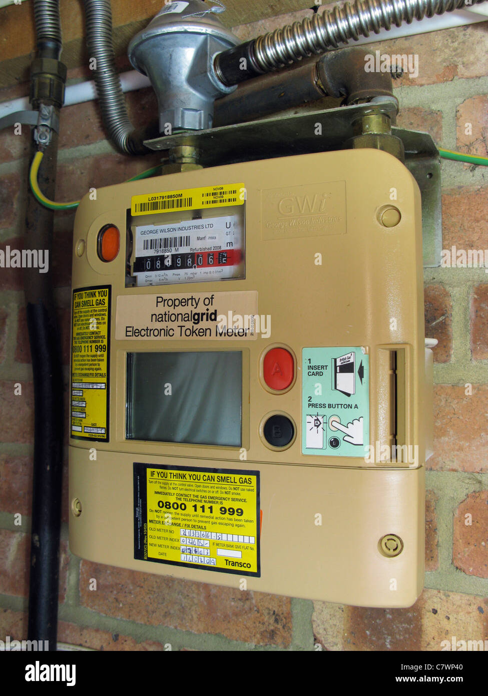 quantum key prepayment gas meter, paying for gas as you use it - Stock Image