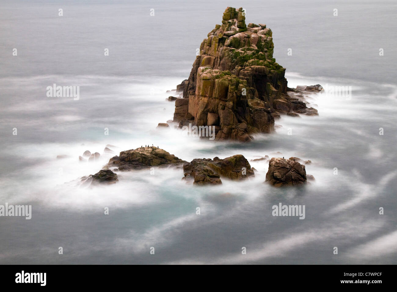 Rocks off coast at Land's End; Cornwall; UK - Stock Image