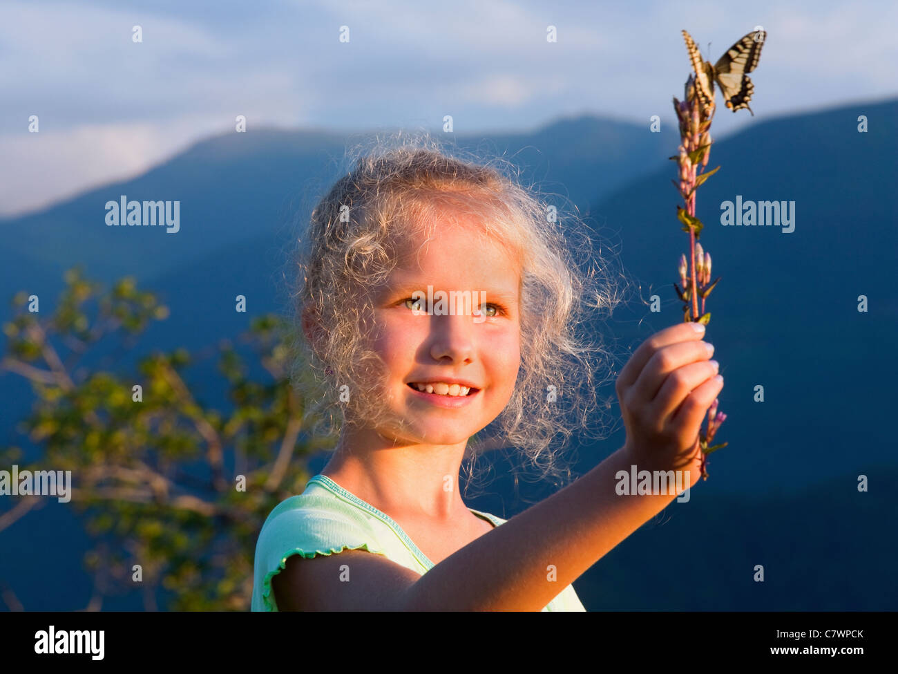 Small sunburnt caucasian girl in last mountain sunset light admire on yellow Swallowtail butterfly - Stock Image