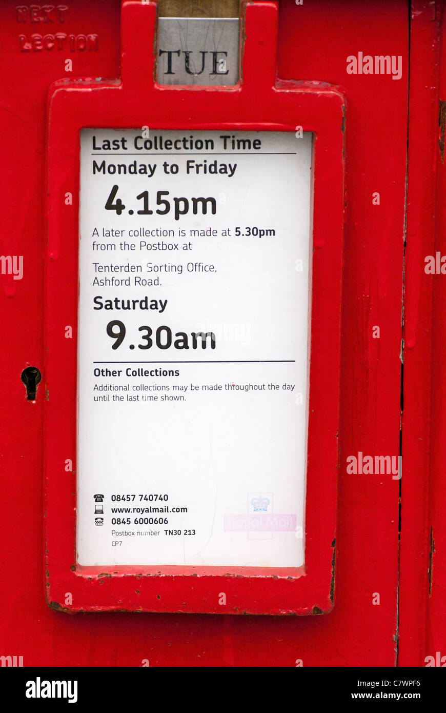 Royal Mail Letter Box.Collection Times On A Red Royal Mail Postbox Postbox Post