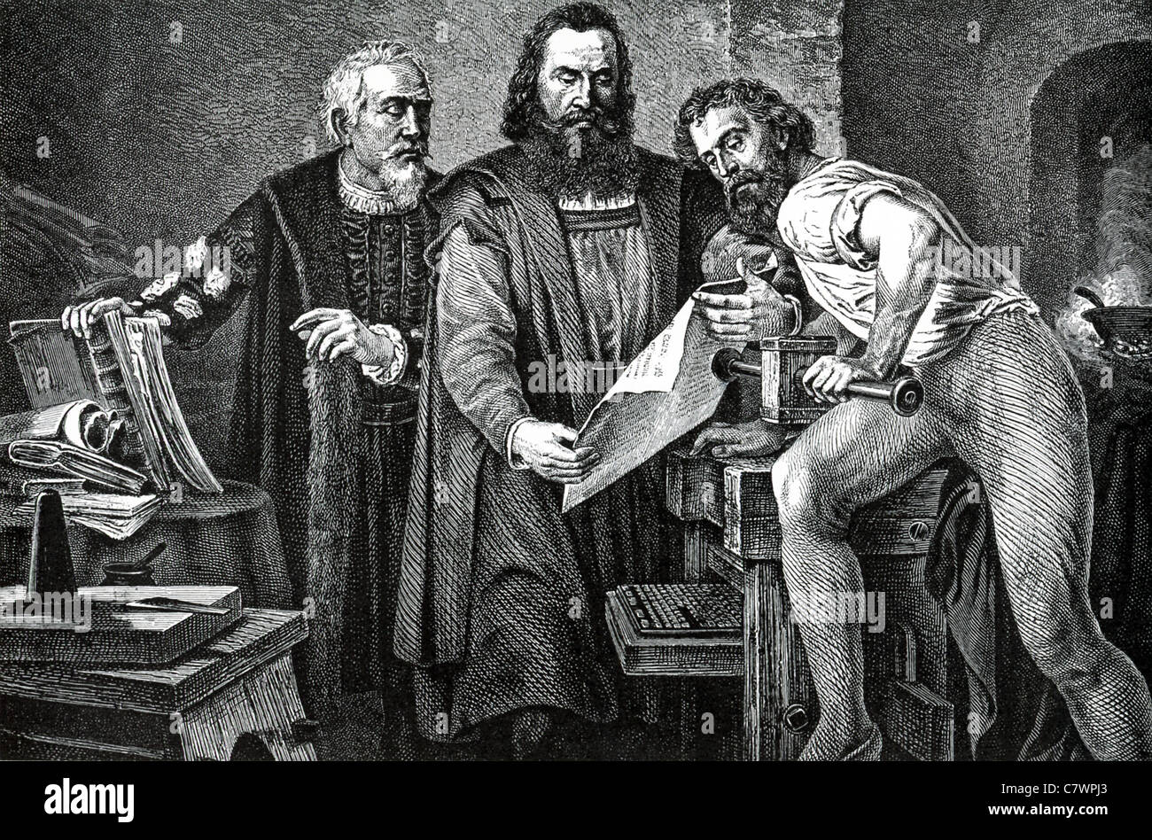 Gutenberg (left) stands with business partner, Johann Fust, and his assistant, Peter Schoeffer, gazing at the first - Stock Image