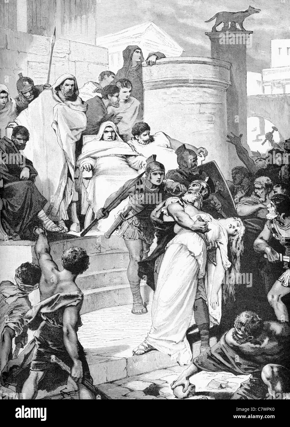 Lucius Virginius kills his daughter Virginia to keep her from the political leader Appius Claudius. - Stock Image