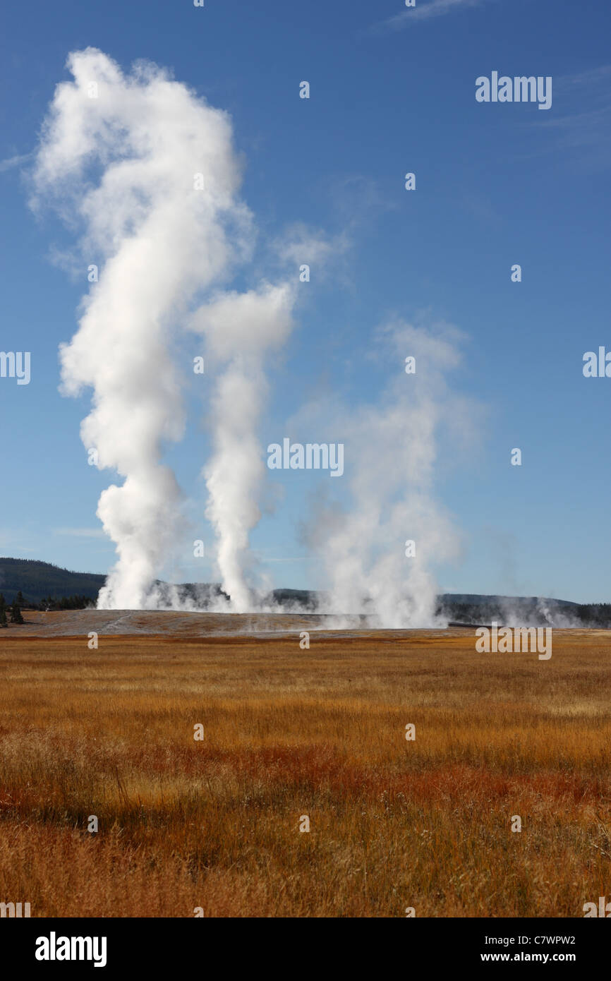 Steam rises from geysers resulting from active volcanism in Yellowstone National Park USA - Stock Image