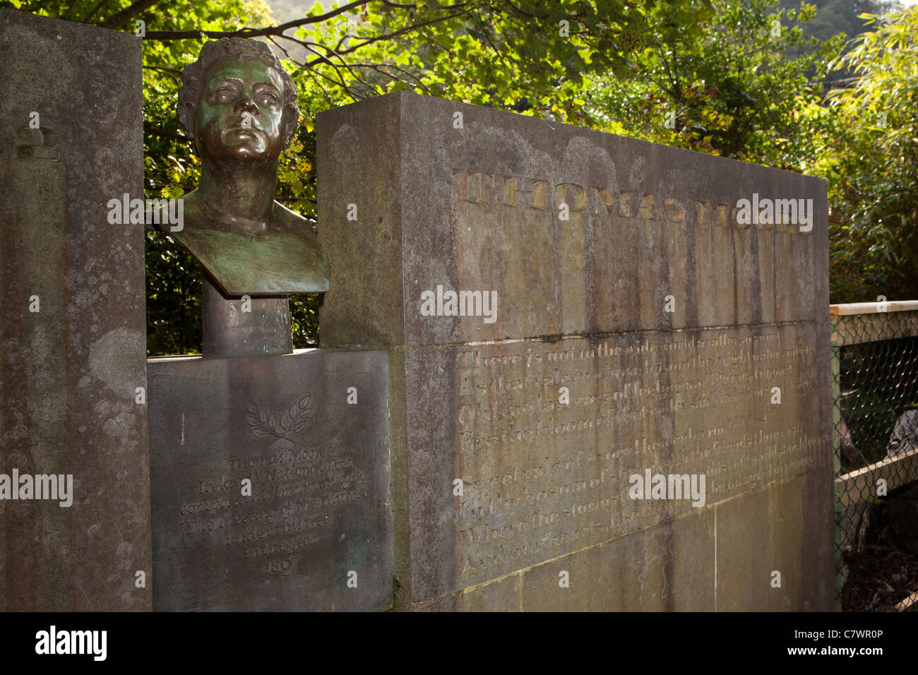 Ireland, Co Wicklow, Avoca, poet Thomas Moore memorial at the meeting of the waters - Stock Image