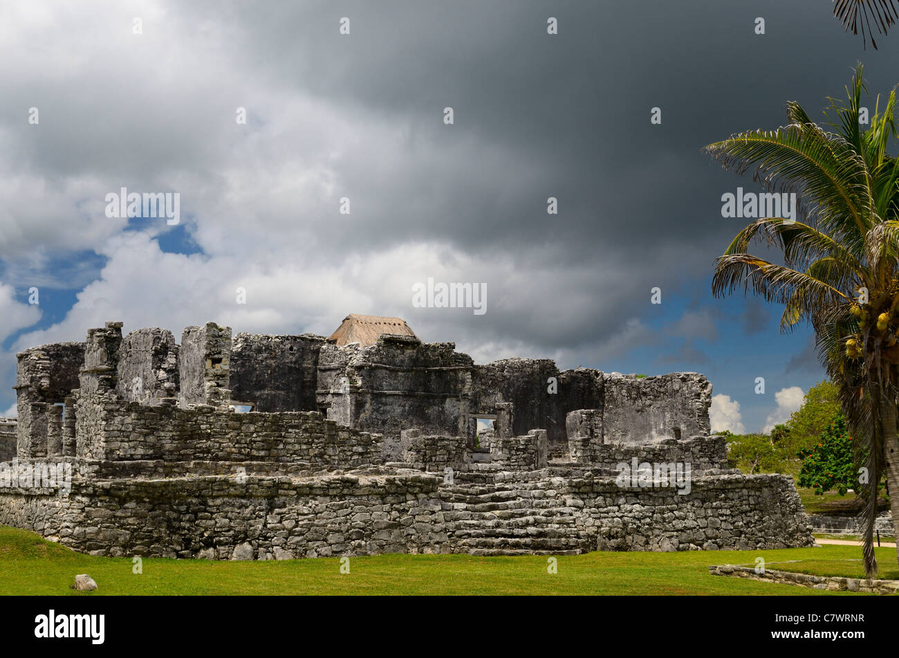 Temple of the Descending God at Tulum Mexico with storm cloud and coconut palm tree - Stock Image