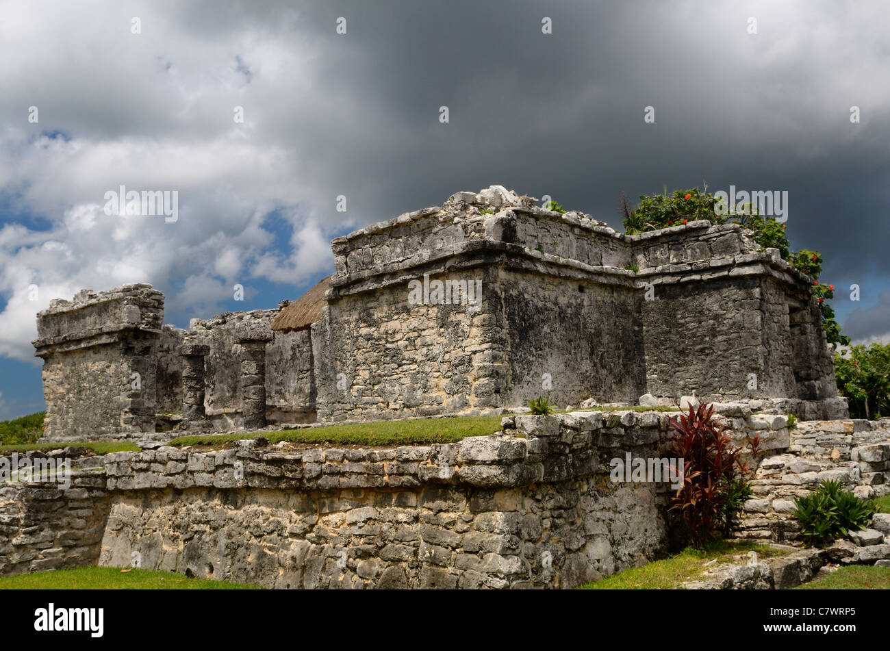 Resevoir house ruin at Tulum Mexico with storm cloud - Stock Image