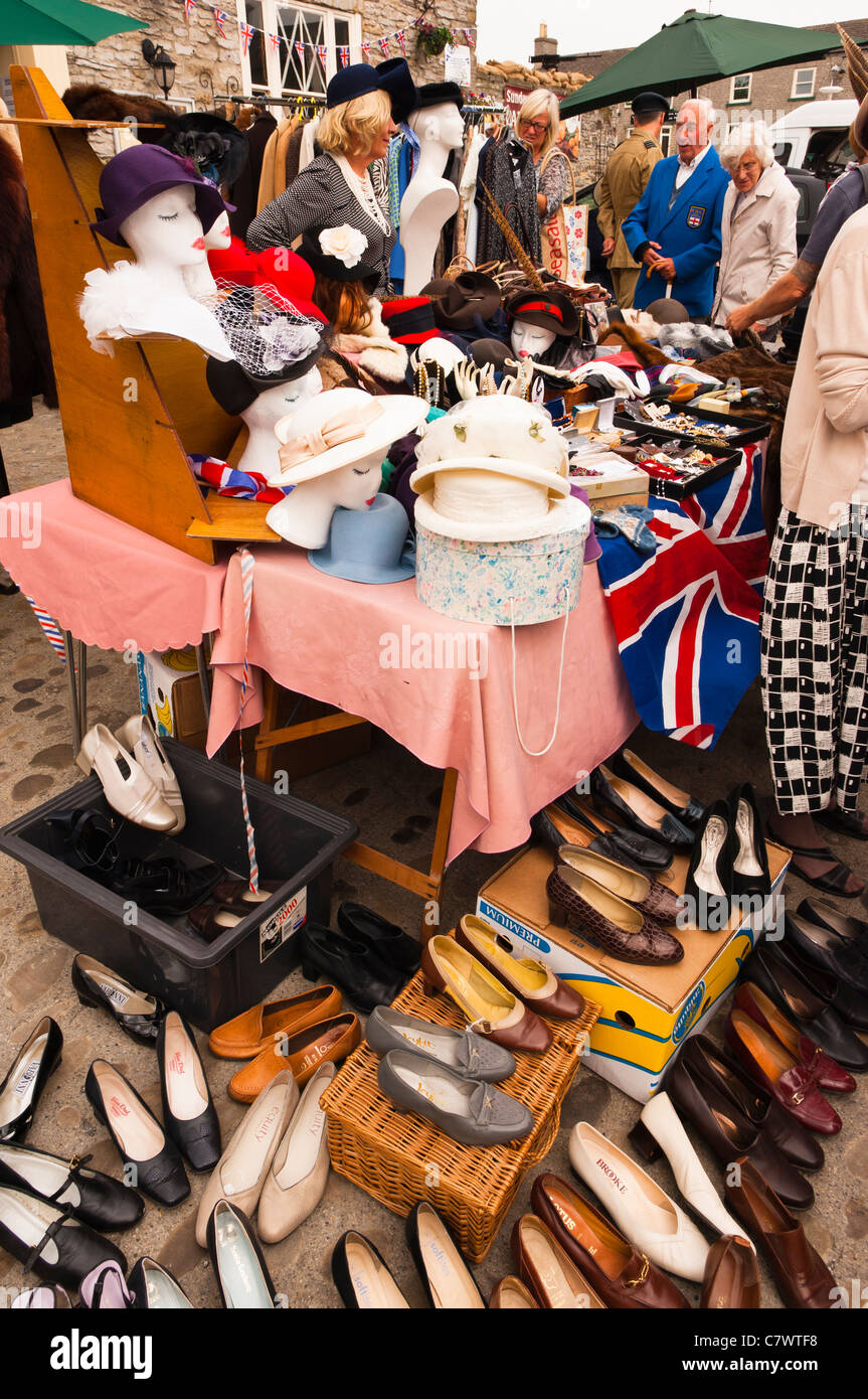 A clothes stall at the 1940's weekend at Leyburn in North Yorkshire , England , Britain , Uk - Stock Image