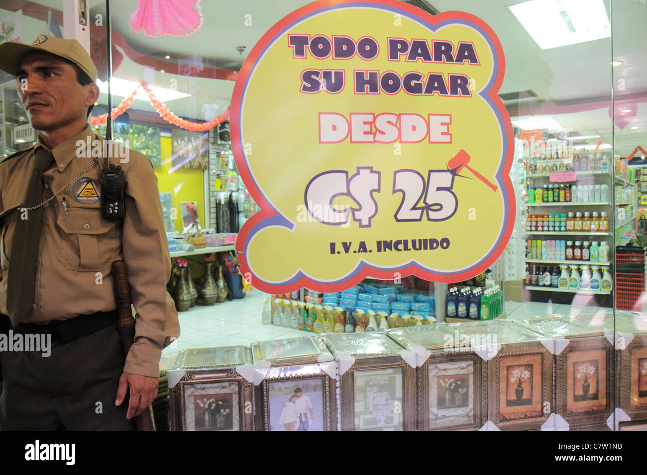 Managua Nicaragua Avenida Simon Bolivar Plaza Inter shopping general store retail display merchandise sign promotion - Stock Image