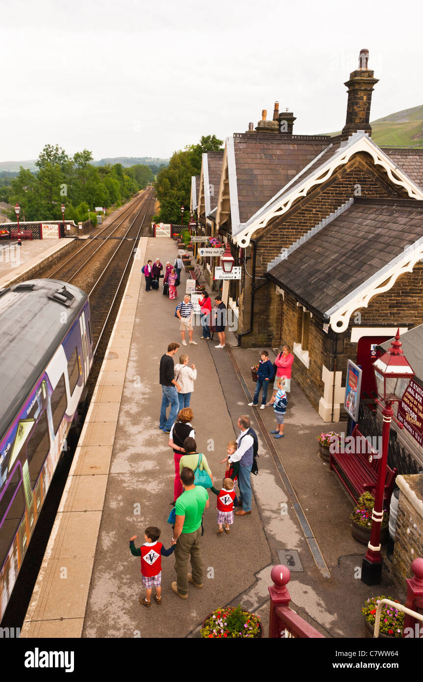The Railway Station at Settle in North Yorkshire , England , Britain , Uk - Stock Image