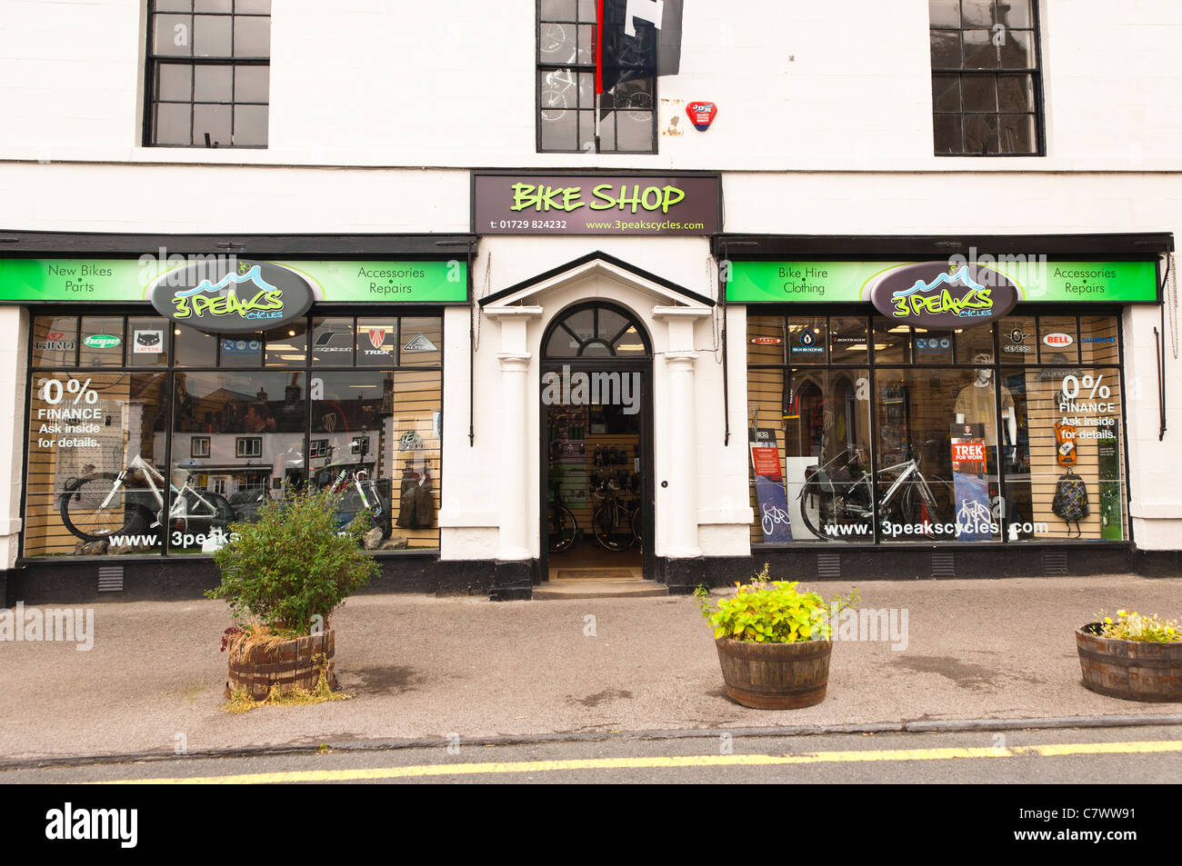 The 3 Peaks cycles bike shop store at Settle in North Yorkshire , England , Britain , Uk - Stock Image