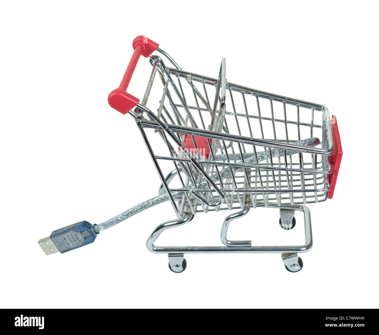Online shopping cart with a USB cable to make shopping convenient from your computer - path included - Stock Image