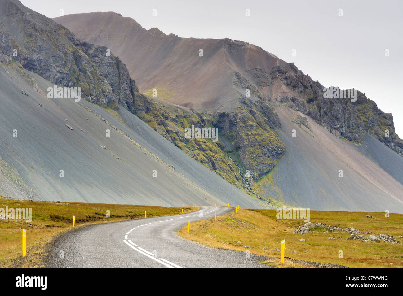 The Icelandic ring road and scenery north of Hofn in southeast Iceland. - Stock Image