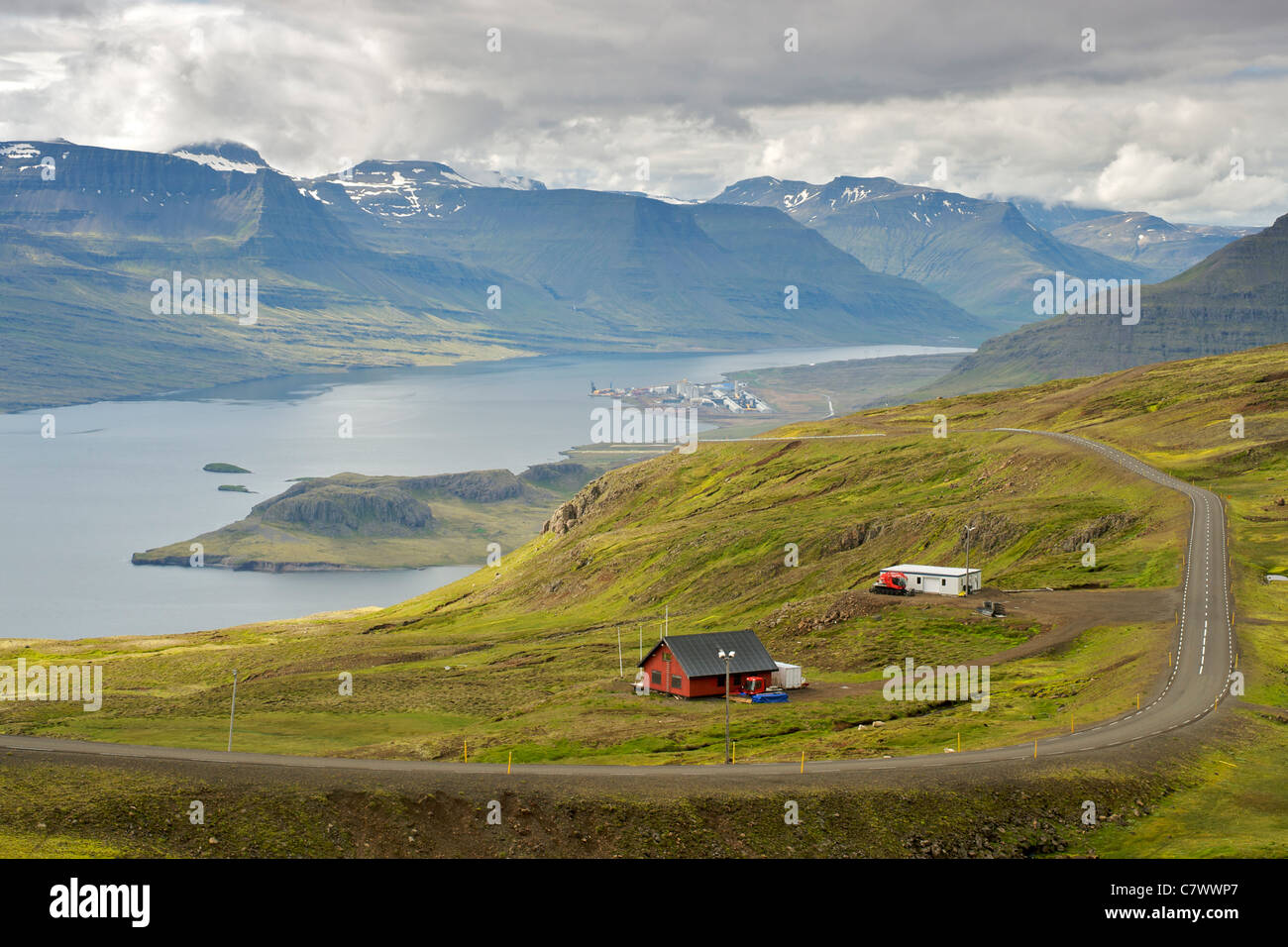 View of Reydarfjordur (background) and Eskifjordur (foreground), two fjords in east Iceland. - Stock Image