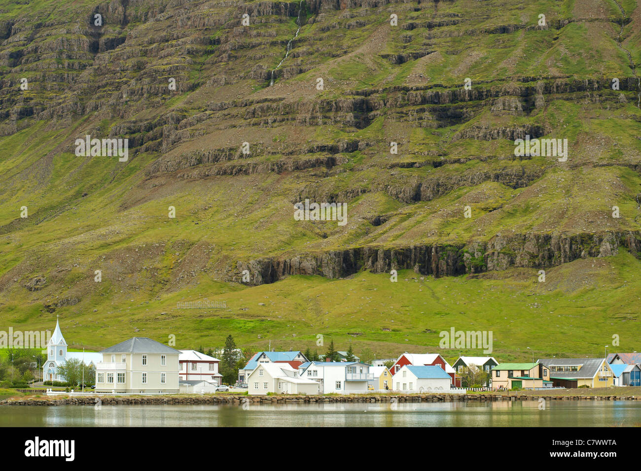 Houses in Seydisfjordur, a fjord in east Iceland. - Stock Image
