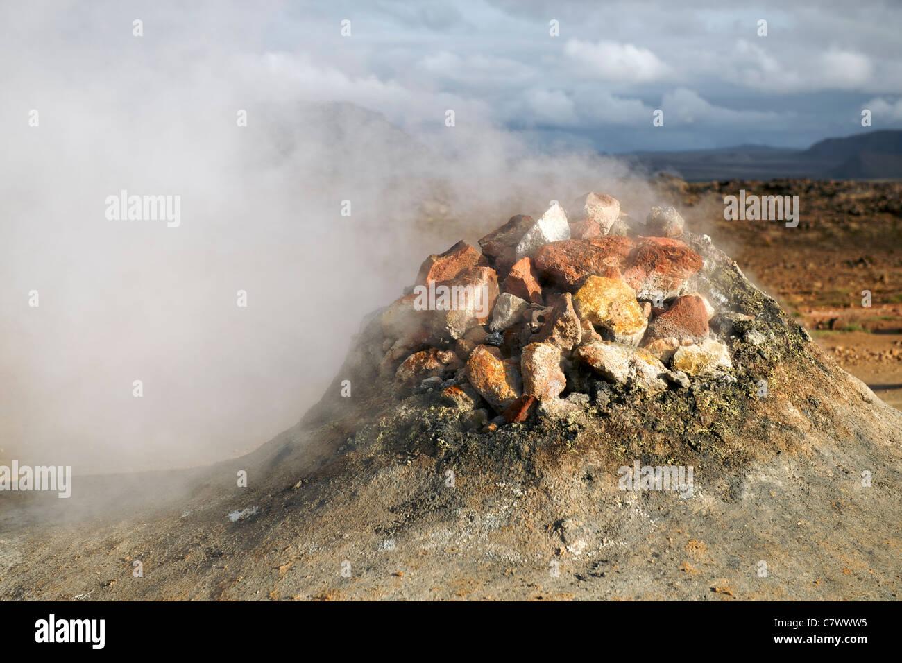 Steaming fumaroles (volcanic vents) at Hverir (aka Hverarond) east of Myvatn in northeast Iceland. - Stock Image