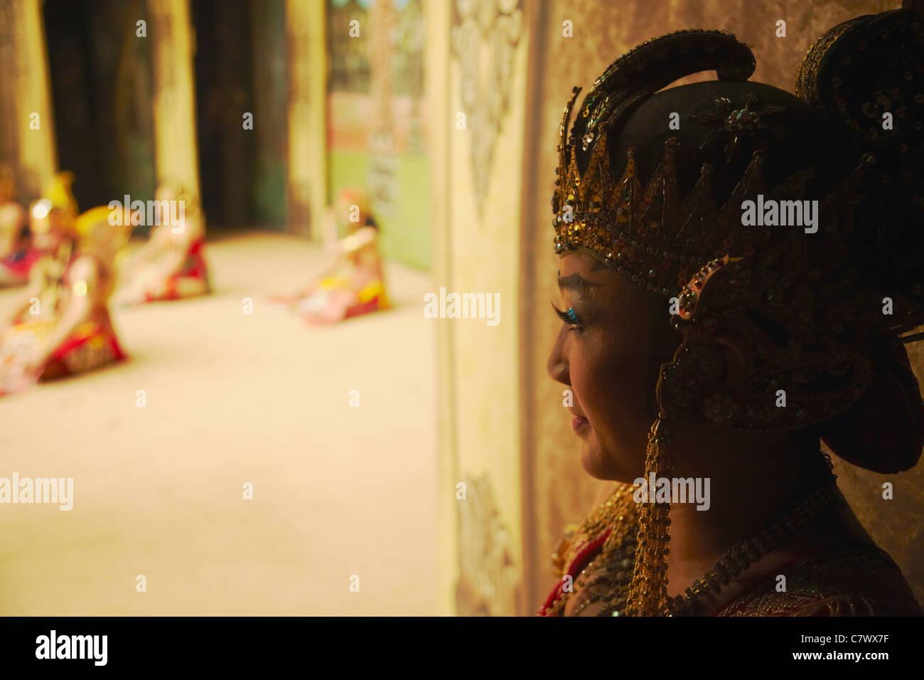 Wayang orang performer waiting in wings of Sriwedari Theatre, Solo, Java, Indonesia Stock Photo