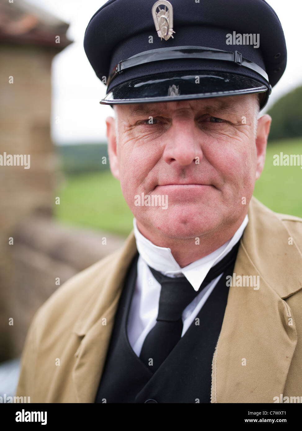 Bus conductor, Beamish, The North of England Open Air Museum County Durham - Stock Image