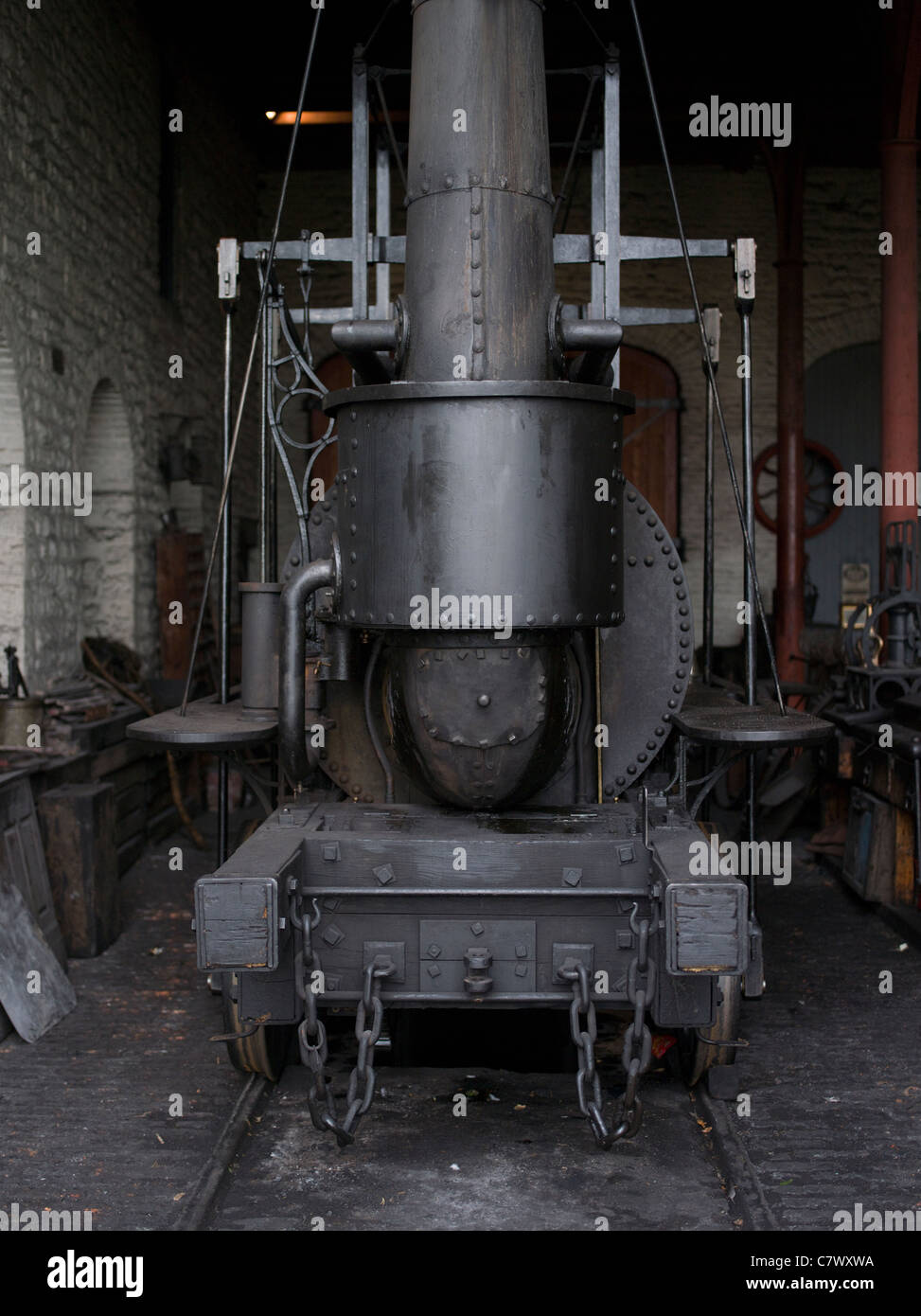 Beamish, The North of England Open Air Museum County Durham - Steam train locomotive engine - Stock Image
