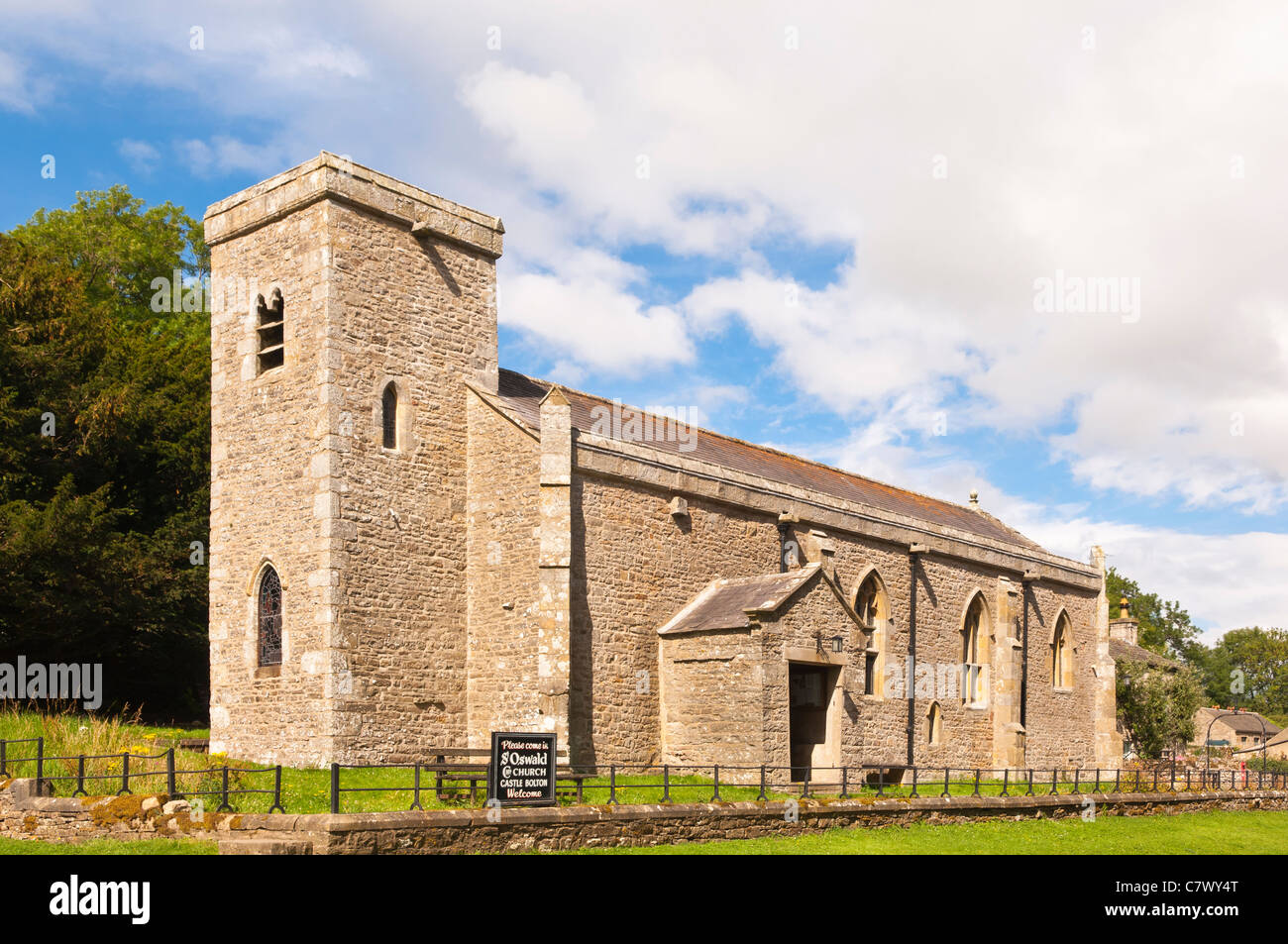 St. Oswald Church next to Bolton Castle near Leyburn in North Yorkshire , England , Britain , Uk - Stock Image