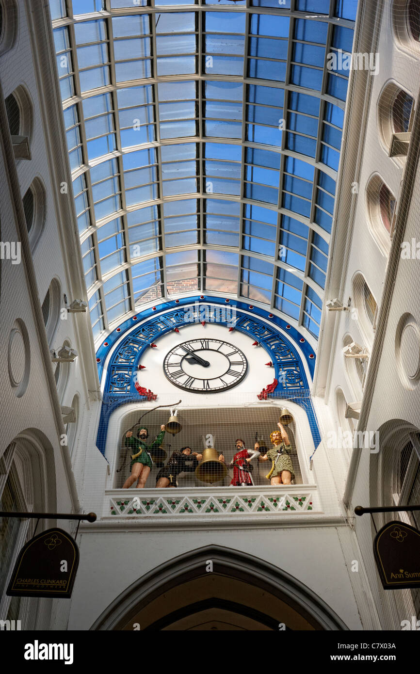 The Ivanhoe Clock in the Thornton's Arcade, Leeds city centre. - Stock Image