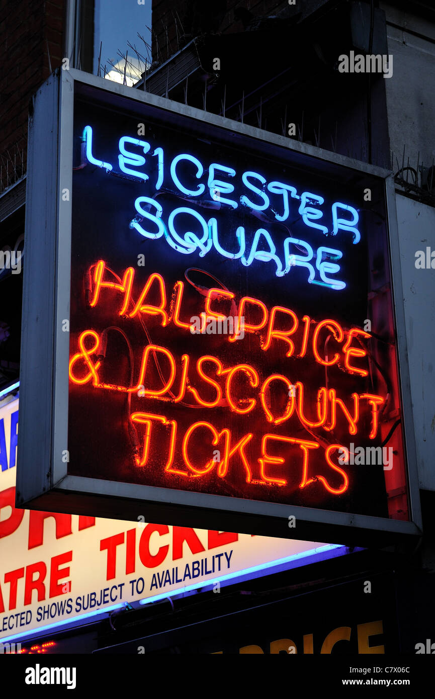 Leicester Square half price and discount theatre tickets sign - Stock Image