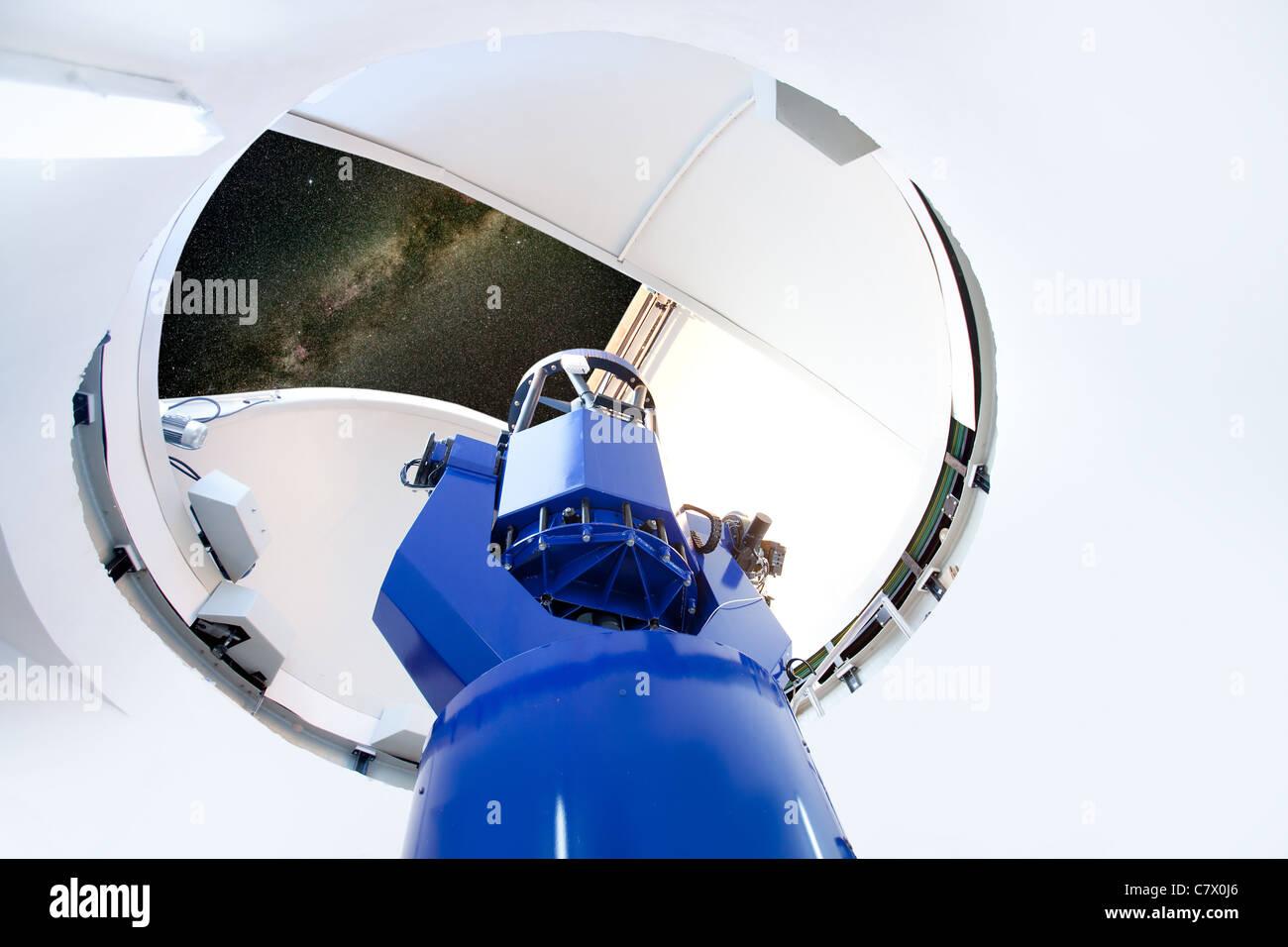 astronomical observatory telescope indoor night sky - Stock Image
