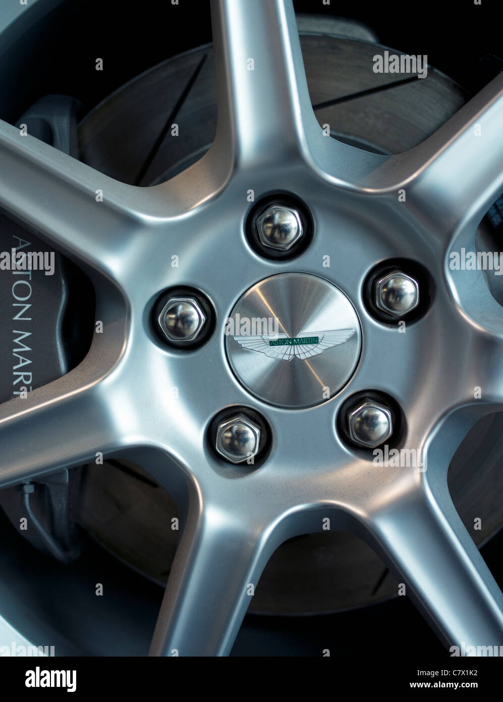 Aston Martin Wheel showing logo brakes alloy brake disc - Stock Image