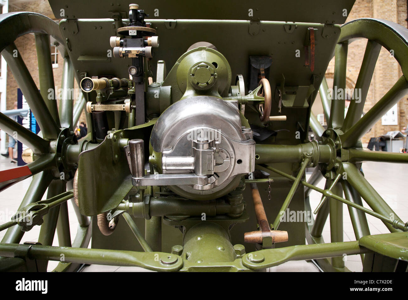 The rear of a British field gun artillery piece in the Imperial War Museum London. - Stock Image