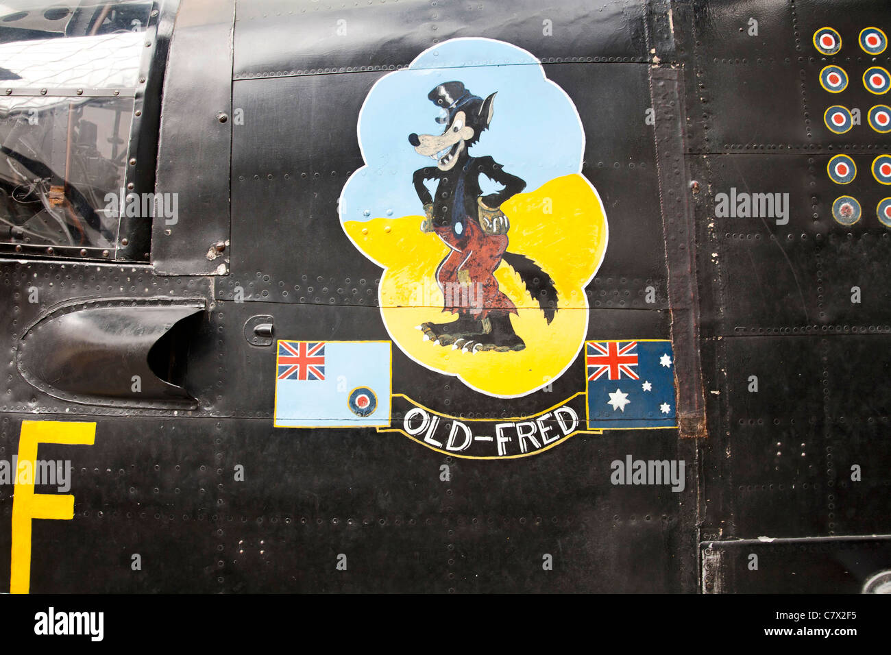 Avro Lancaster I fuselage with a painted OLD FRED picture on the side of the nose section. On show at the Imperial - Stock Image