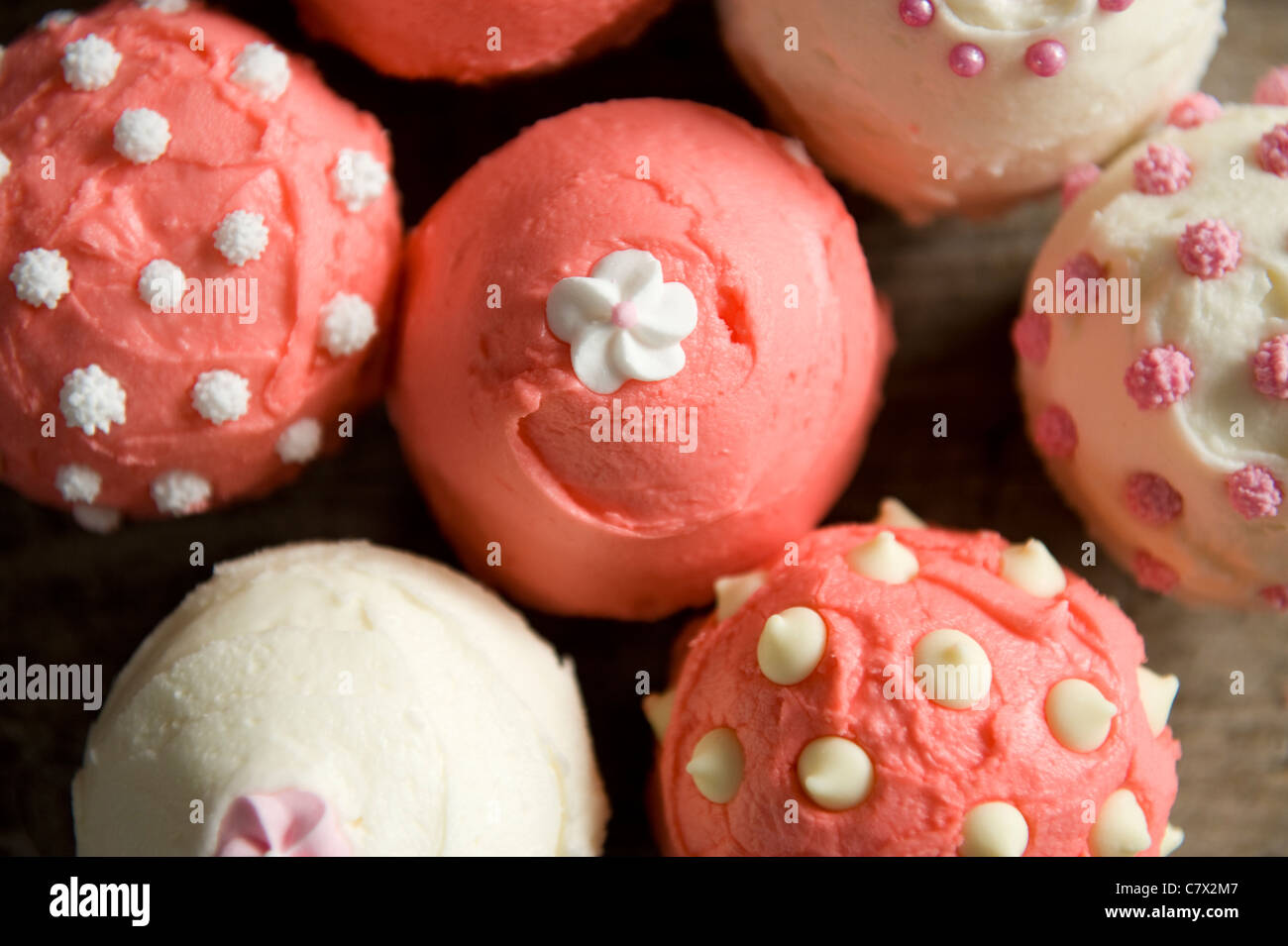 cupcakes frosted pink and white in various patterns on a cake plate back lit - Stock Image