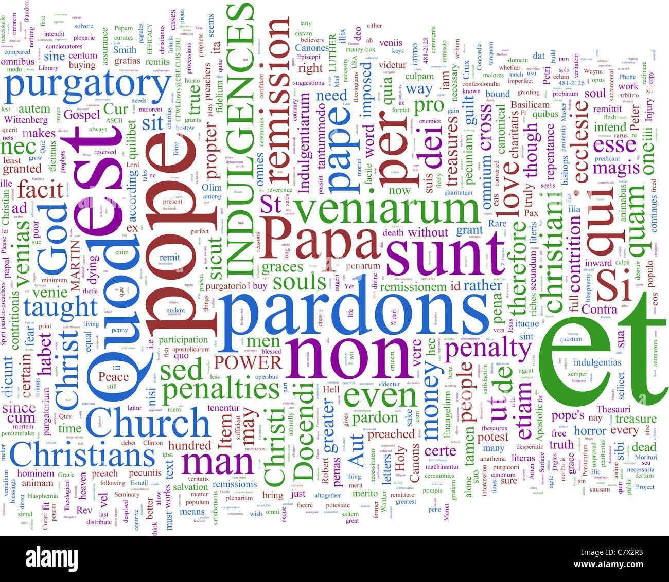 A word cloud based on Martin Luther's 95 theses - Stock Image