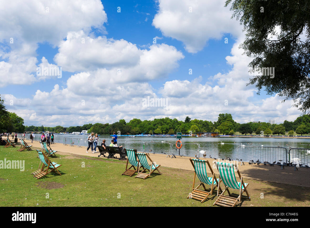 Deckchairs by The Serpentine in Hyde Park, London, England, UK - Stock Image