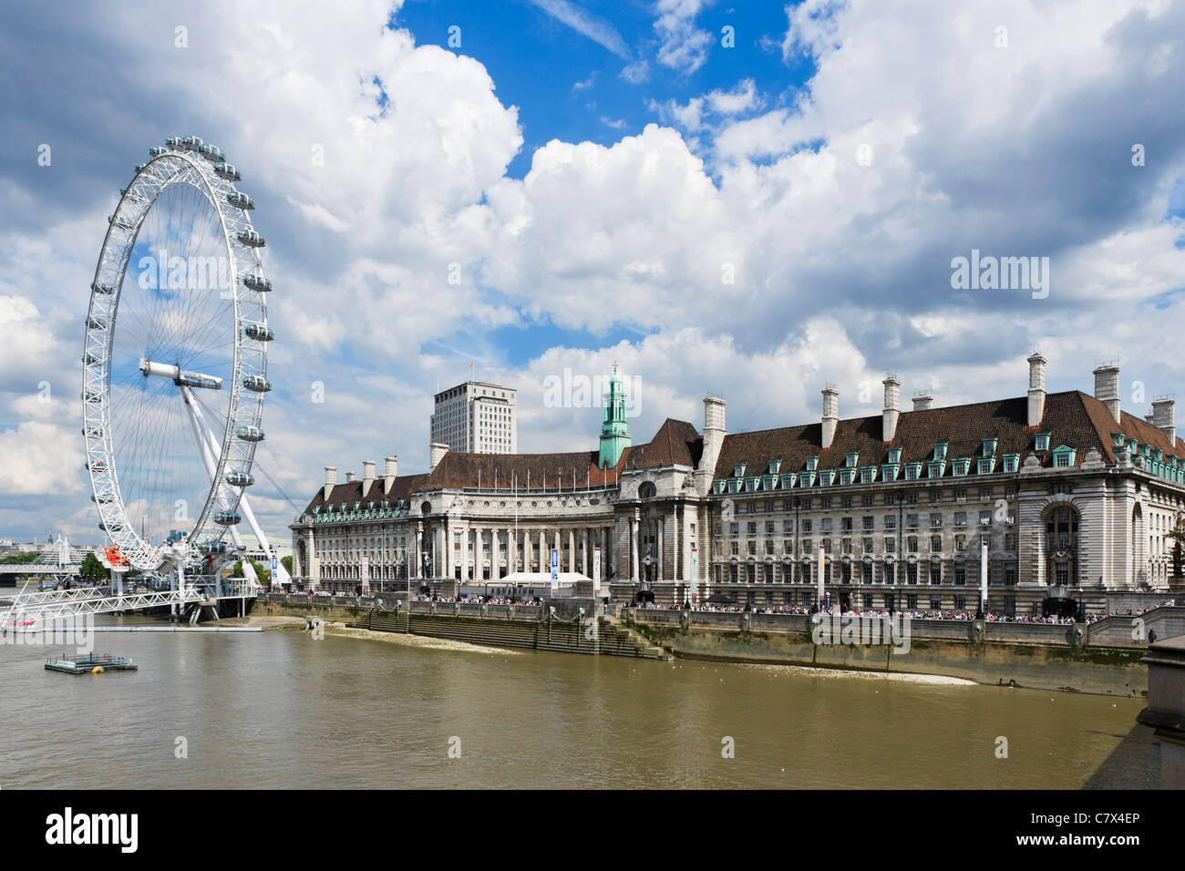 County Hall and The London Eye from Westminster Bridge, London, England - Stock Image