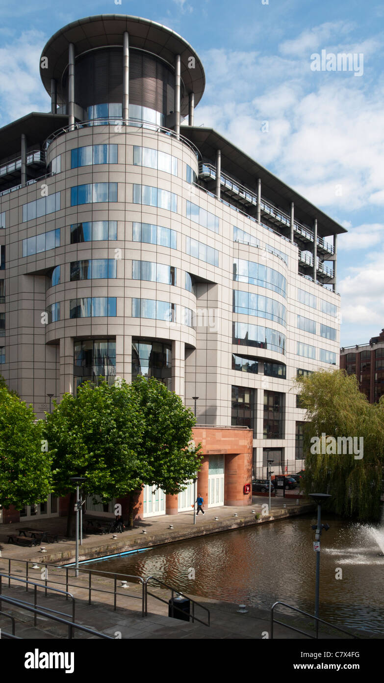Office building and canal basin, Barbirolli Square, Manchester, England, UK Stock Photo