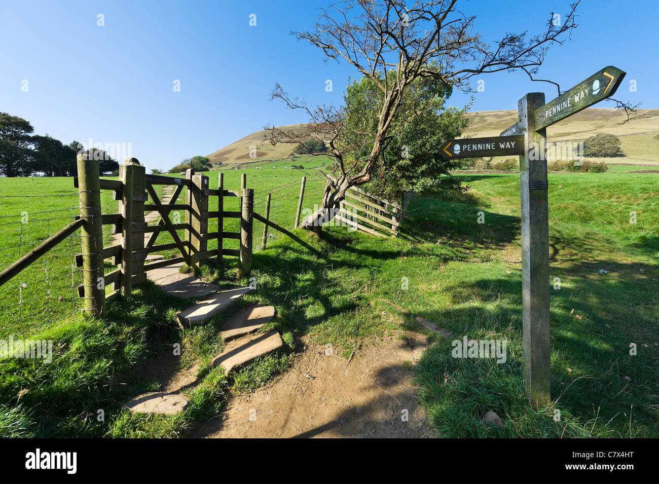 Pennine Way. Signpost for The Pennine Way near its start in Edale, Peak District National Park, Derbyshire, England, - Stock Image