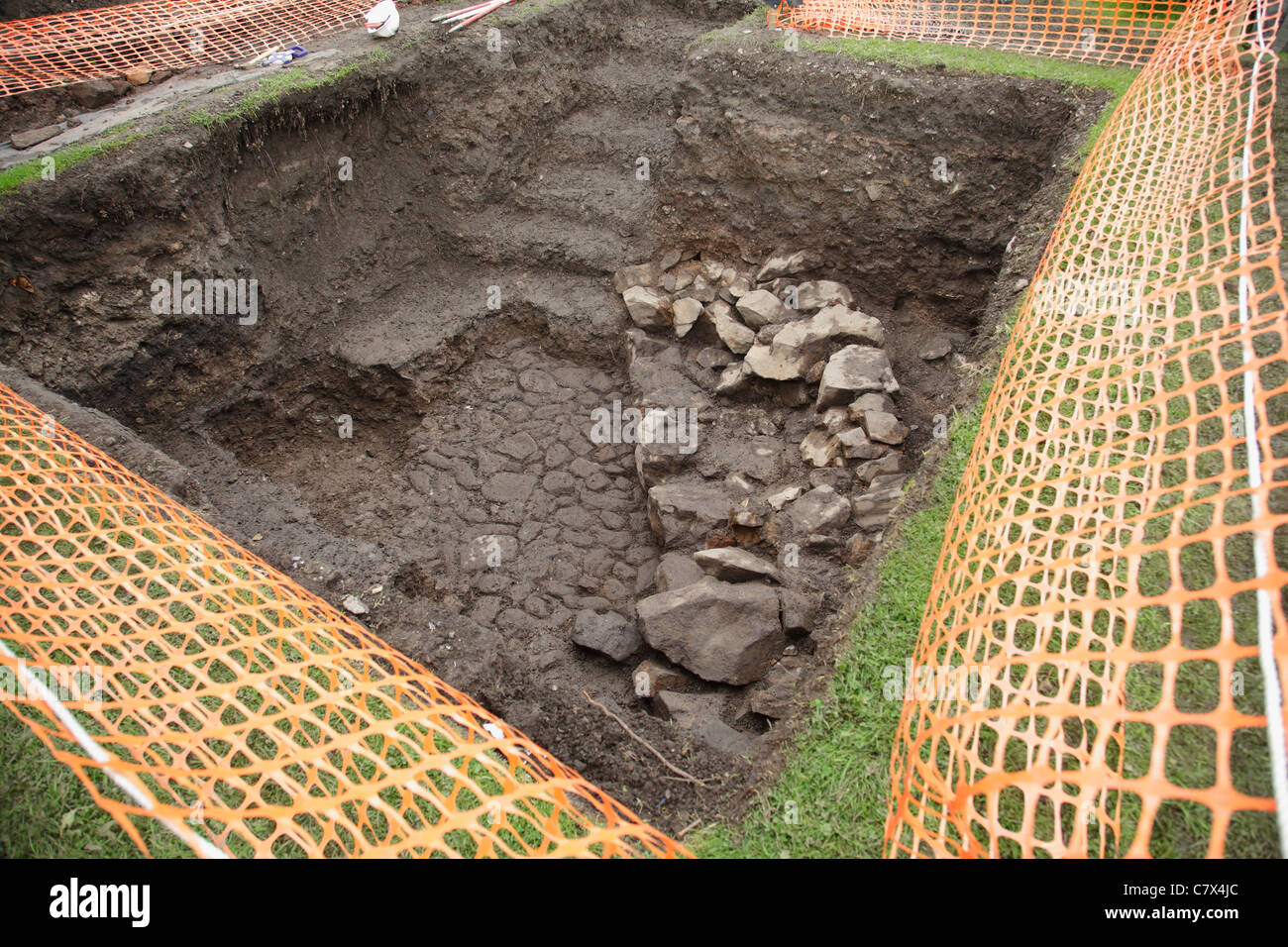 An archealogical dig to investigate Paisley Abbey Drain in Renfrewshire Scotland UK - Stock Image