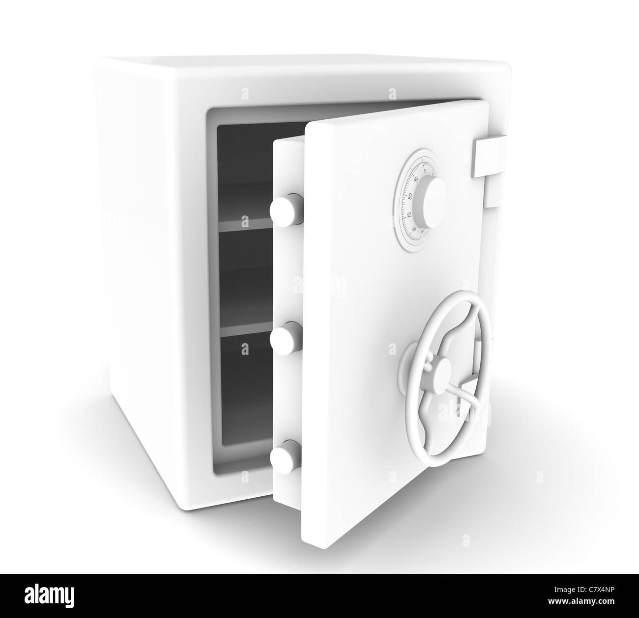 An open Safe with Combination lock. All White. Sparse - Stock Image