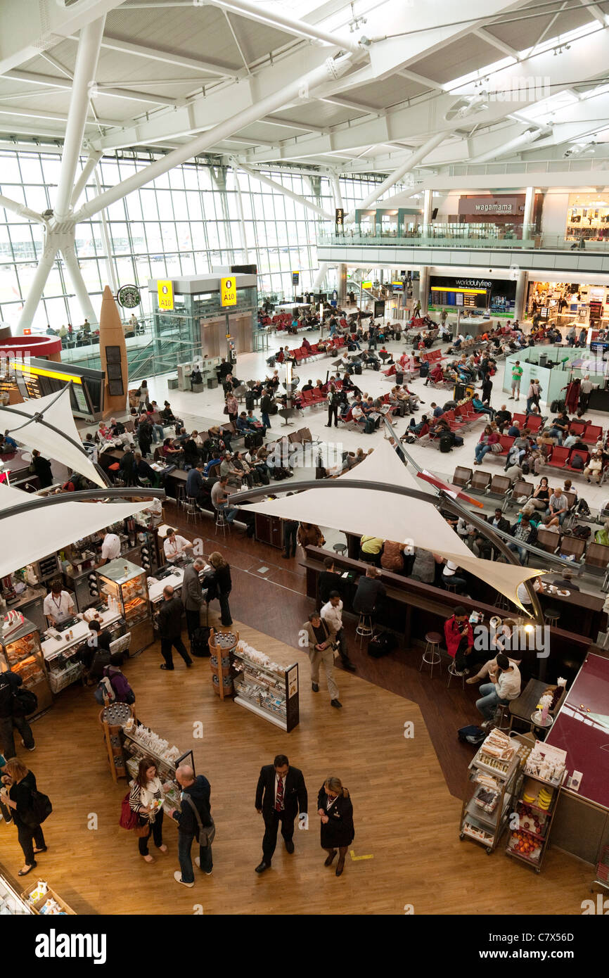 Overview of interior of Terminal 5, Heathrow airport London UK - Stock Image
